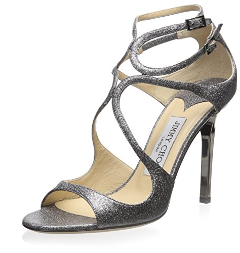 JIMMY CHOO Women's Lang Sandal, Silver/Glittered, 40.5 M EU/10.5 M - For Jimmy Women Shoes Choo