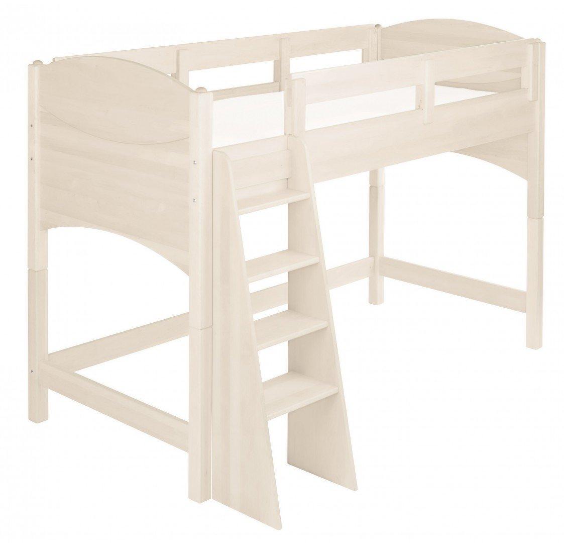 BioKinder 23875 Noah Spar-Set Kinder-Hochbett aus Massivholz Kiefer weiß 100 cm
