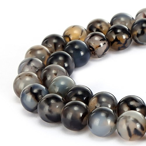 BRCbeads Gorgeous Natural Black White Dragon Design Agate Gemstone Smooth Round Loose Beads 10mm Approxi 15.5 inch 35pcs 1 Strand per Bag for Jewelry Making - Design Agate