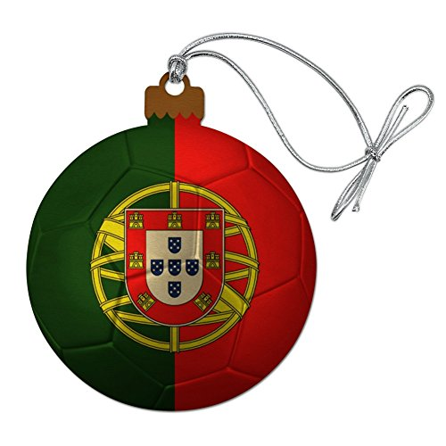 GRAPHICS & MORE Portugal Flag Soccer Ball Futbol Football Wood Christmas Tree Holiday Ornament