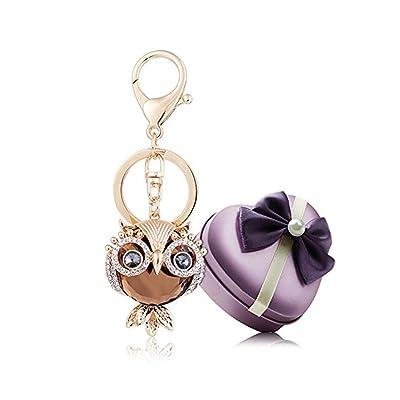 YGMONER Crystal Keychain Car Keyring & Bag Accessory Free with Gift Box (Owl(Champagne)): Automotive