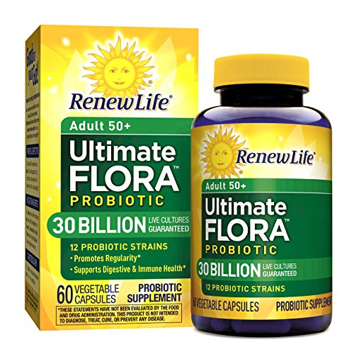 Renew Life Adult 50+ Probiotic - Ultimate Flora Probiotic, Shelf Stable Probiotic Supplement - 30 Billion - 60 Vegetables Capsules (Packaging May Vary)