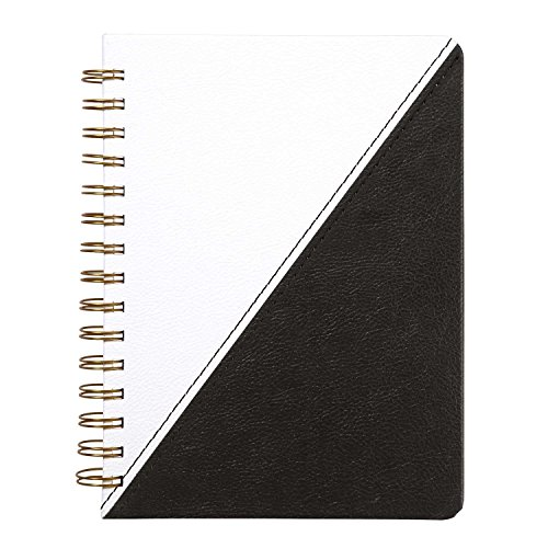Notebook Leatherette Black (C.R. Gibson Leatherette Spiral Perforated Journal, 6.125