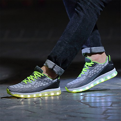 Charging Unisex Adult LED Kids for USB Gray Shoes Light and Women YMY and Men qwX8tUEEg