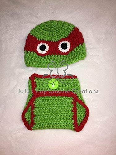 Crocheted Handmade Baby Newborn Red Turtle Outfit - Halloween Costume - Baby Shower Gift - Photo Prop - Hat - Diaper Cover - Baby Clothes - Baby Boy - Baby Shower Gift (Outfit Turtle Crocheted)