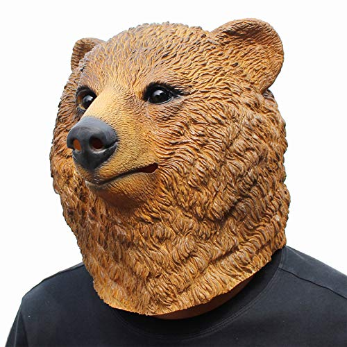 CreepyParty Deluxe Halloween Costume Party Latex Animal Head Mask Brown Bear]()