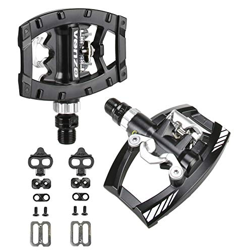Venzo Dual Function Platform Shimano SPD Compatible 9/16″ Clipless Pedals Black with Cleats