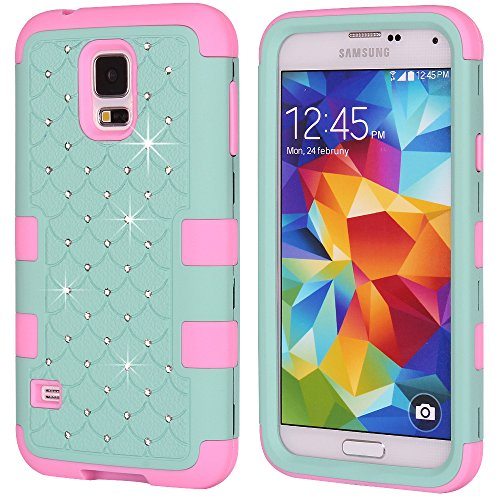 Galaxy S5 Case, KAMII 3 Layers Verge Hybrid Soft Silicone Hard Plastic Triple Quakeproof Drop Resistance Protective Case Cover for Samsung Galaxy S5 (Teal Pink)