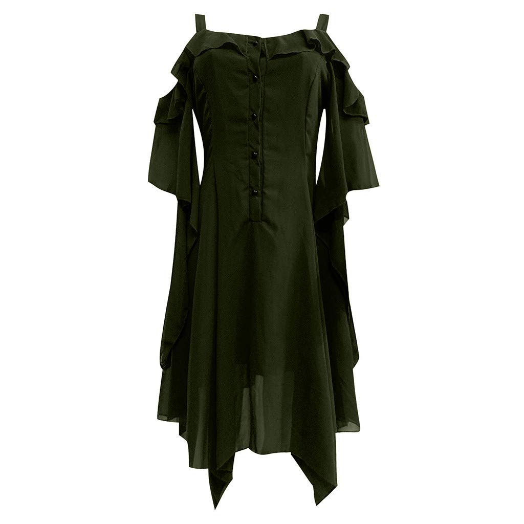 Women's Ruffle Sleeves Midi Dress Chiffon Off Shoulder Gothic High Low Dresses Button Down Tops Casual Daily Dress (Green, XXXXXL/US 18)