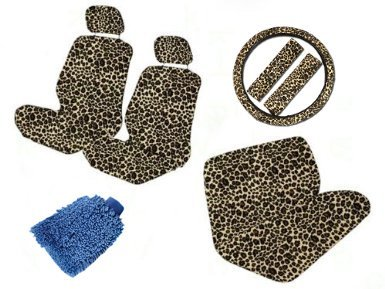 - Unique Imports Premium New Style CHEETAH 11pc Low Back Front Seat Covers, Bench Seat Cover with Head Rest, CHEETAH Steering Wheel Cover with Shoulder Pads & Bonus Detailing WashMitt
