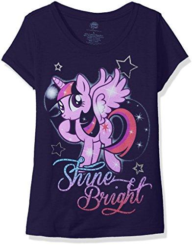 My Little Pony Big Girls' Short Sleeve T-Shirt Shirt, Midnight Navy, Large-12/14 -