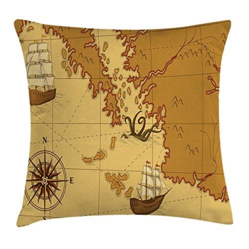 Kraken Decor Throw Pillow Cushion Cover by Ambesonne, Old Map with Compass and Ship Continent and Kraken Figure Artsy Print, Decorative Square Accent Pillow Case, 18 X18 Inches, Light Brown Yellow