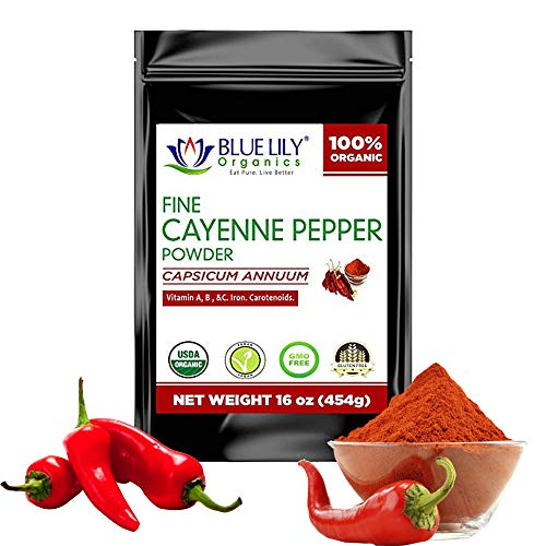 Blue Lily Organics Cayenne Pepper Powder (Ground Chilli Peppers) 35000 SHU - Certified Organic Non GMO (Cayenne Pepper Frontier)