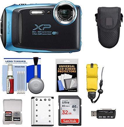 Fujifilm FinePix XP130 Shock & Waterproof Wi-Fi Digital Camera (Sky Blue) with 32GB Card + Battery + Cases + Float Strap + Ultimate Deals Cloth+ Accessory Kit