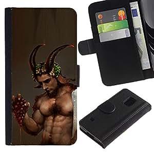 Planetar® Modelo colorido cuero carpeta tirón caso cubierta piel Holster Funda protección Samsung Galaxy S5 V SM-G900 ( Demon Man Abs Horns Sexy Dude Guy )