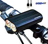 Don Peregrino Led Bike Front Light, 1000 Lumens Brightness Aluminium Headlight, Ipx 6 Waterproof & 4400 mAh Rechargeable Bicycle Lamp