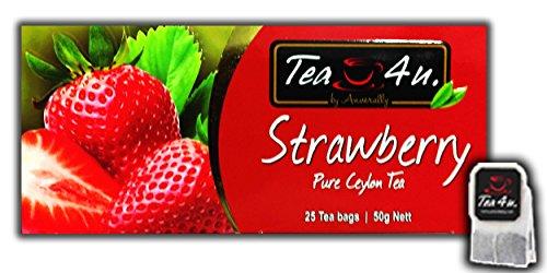 Black Tea | Strawberry Flavoured Tea - 25 Tea Bags | Fruity Tea | Ceylon Tea | Natural & Pure & Unique Quality , From Sri Lanka | Tea4U