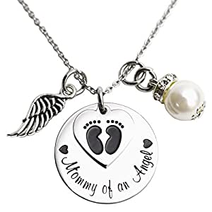 Mommy of an Angel Necklace Infant Child Loss Memorial Pregnancy Loss Miscarriage Stillborn (Necklace)