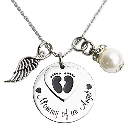 Mommy Charm - Mommy of an Angel Necklace Infant Child Loss Memorial Pregnancy Loss Miscarriage Stillborn (Necklace)