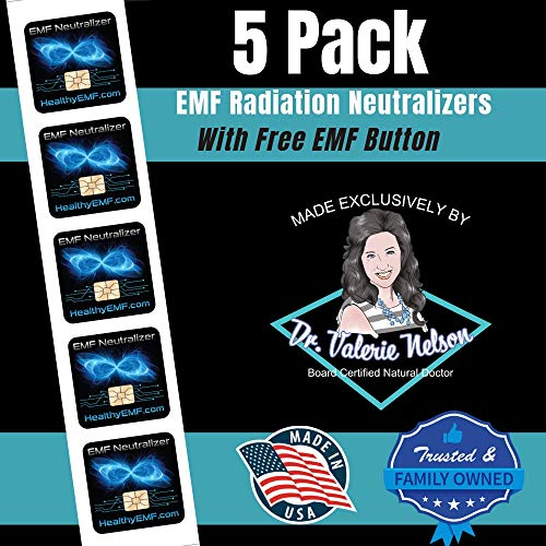 (Cell Phone EMF Protection Radiation Neutralizers + Free EMF Neutralizer Button - Slim Design - Proudly Made in The USA - 10 or 20 Pack - Developed by Dr. Valerie Nelson)