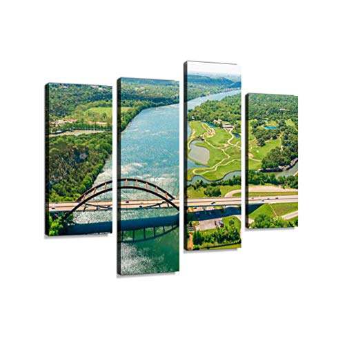 - Aerial View Pennybacker 360 Bridge on Colorado River, Austin, Texas Canvas Wall Art Hanging Paintings Modern Artwork Abstract Picture Prints Home Decoration Gift Unique Designed Framed 4 Panel