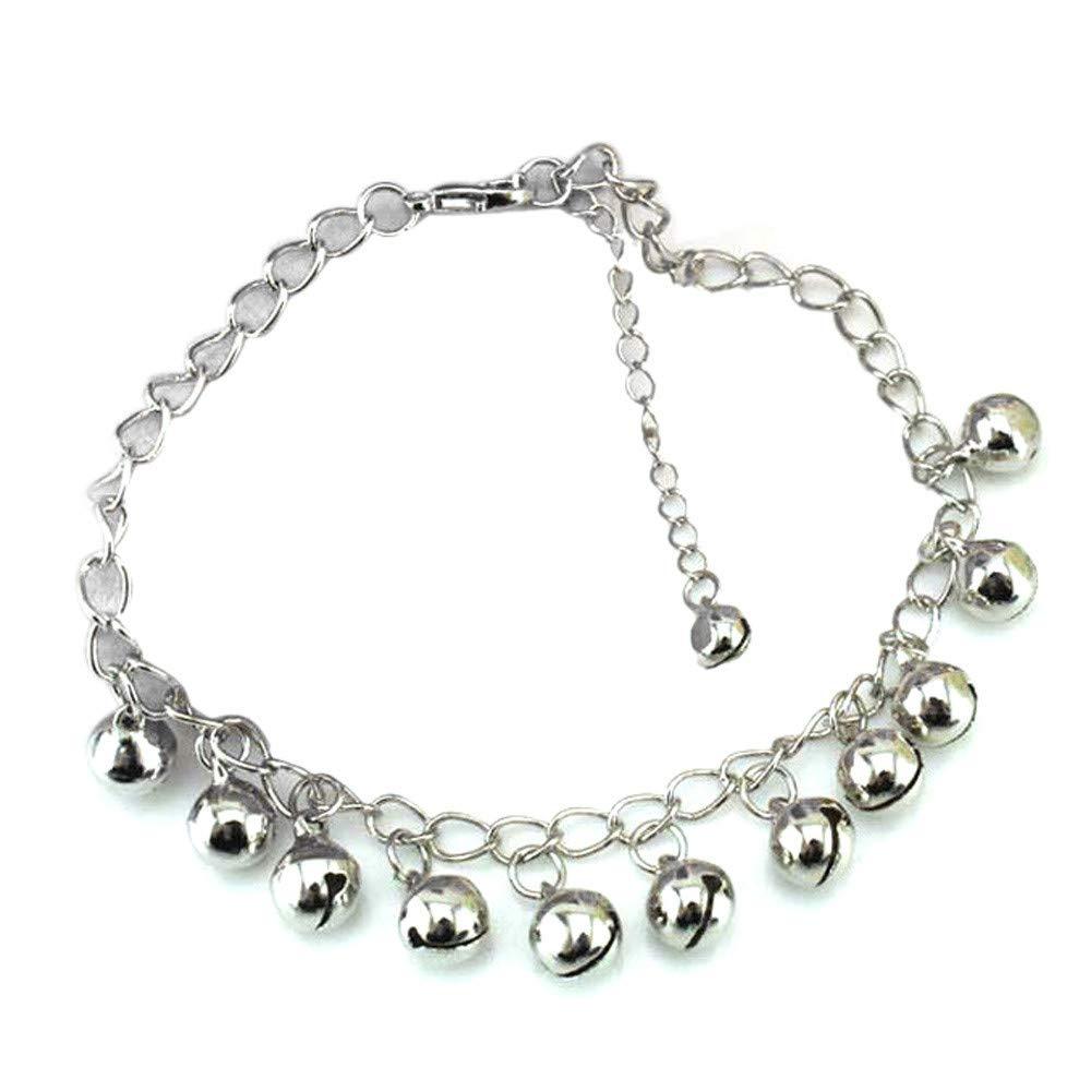 Hot SaleOWMEOT Charming Fashion 925 Sterling Silver Plated Bracelet Jingle Bells Bead Charm Bracelet Lady Jewelry (Silver)
