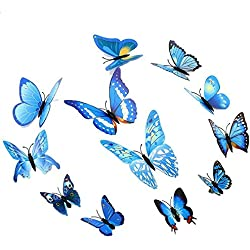 Amaonm® 24pcs 3d Vivid Special Man-made Lively Butterfly Art DIY Decor Wall Stickers Decals Nursery Decoration, Bathroom Décor, Office Décor, 3d Wall Art, 3d Crafts for Wall Art Kids Room Bedroom