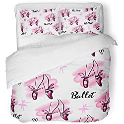 Emvency 3 Piece Duvet Cover Set Breathable Brushed Microfiber Fabric Abstract Girlish Dance Hearts Watercolor Spot Legs with Pointes and Bow Ballet Bedding Set with 2 Pillow Covers Twin Size