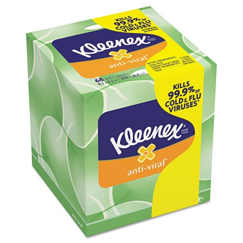 KLEENEX Anti-Viral Facial Tissue, 3-Ply, 68 Sheets/Box, 27 Boxes/Carton, Sold as 1 Carton by Kimberly-Clark Professional B009A55U9M