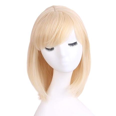 STfantasy Peluca mujer rubia amarillas Natural bob recta Flequillo Ombre wig para uso diario carnaval halloween