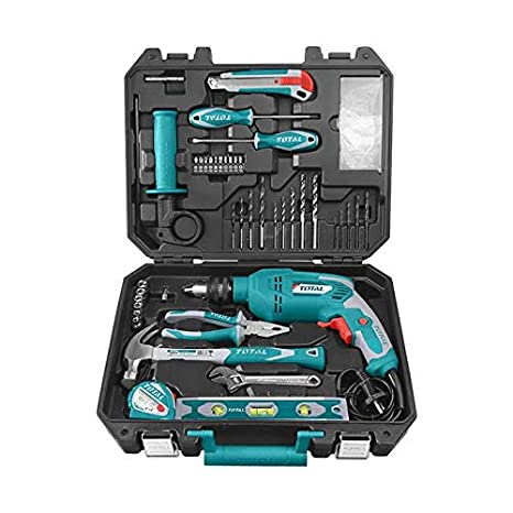 MR LIGHT TOTAL Iron 101 Pieces Tool Set with 650W Drill DIY Kit, Multicolour