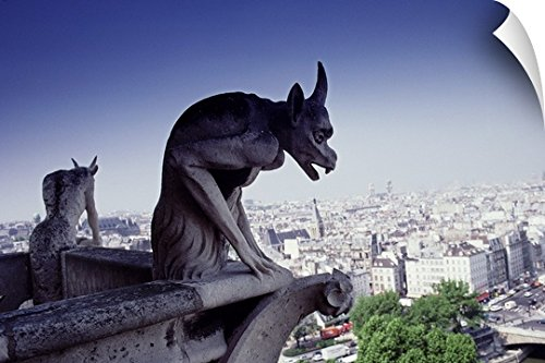 Canvas On Demand Wall Peel Wall Art Print entitled Gargoyle, View from Notre Dame, Paris by Canvas on Demand