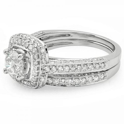 1.85 Carat (ctw) 14K White Gold Round Diamond Halo Style Bridal Engagement Ring Set Matching Band