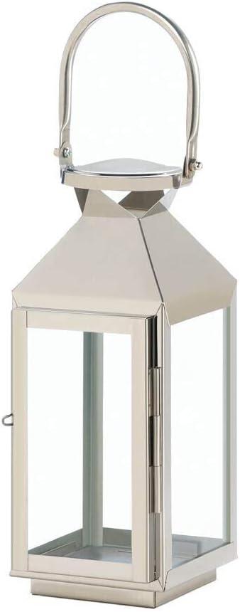 Zings & Thingz 57074056 Stylish Stainless Steel Lantern, Gray