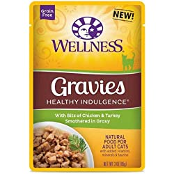 Wellness Healthy Indulgence Gravies Chicken and Turkey in Gravy Cat Food, 3 Ounce -- 24 per case.