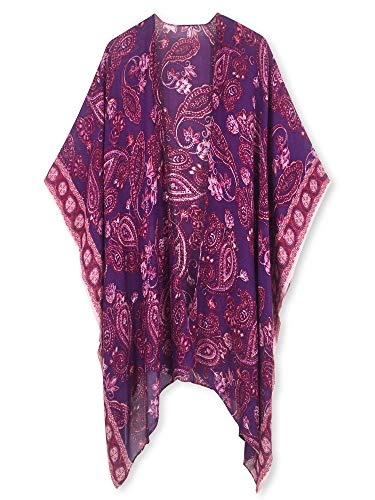 (Moss Rose Women's Beach Cover up Swimsuit Kimono Cardigan with Bohemian Floral Print)