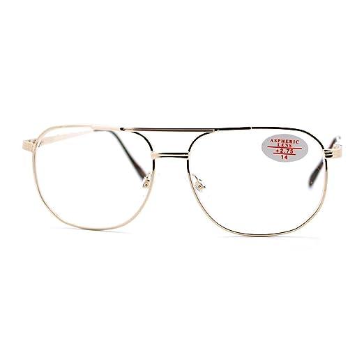 a8dba60286 Clear Lens Glasses + Bifocal Reading Lens Vintage Square Spring Hinge  Gold+1.00
