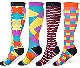 8-15 mmhg Compression Socks Women Men Fun Compression Stockings for Running, Nurse, Pregnancy, Travel, 4 Pack, L/XL