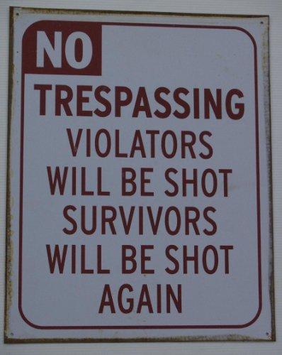 Again Tin Sign - No Trespassing Survivors Will Be Shot Again Metal Tin Sign