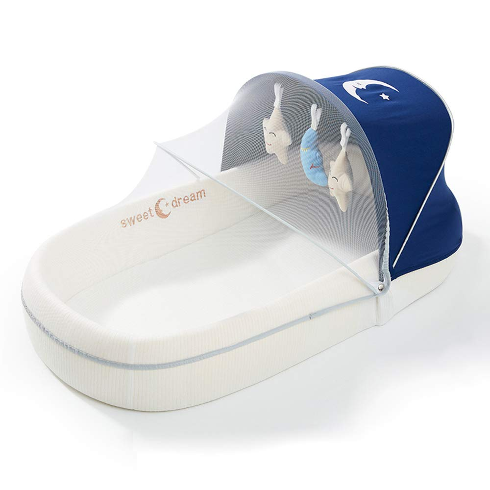 Portable Foldable Crib Multifunctional Newborn Sleeping Chair Travel Sleeping Bag Crib (Awning + Mosquito Net + Doll) Blue