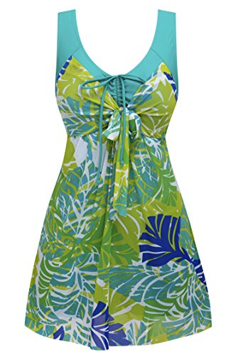 Wantdo Women's Plus Size Swimdress with Shorts Flower Printed Swimwear Cover Up Swimsuits