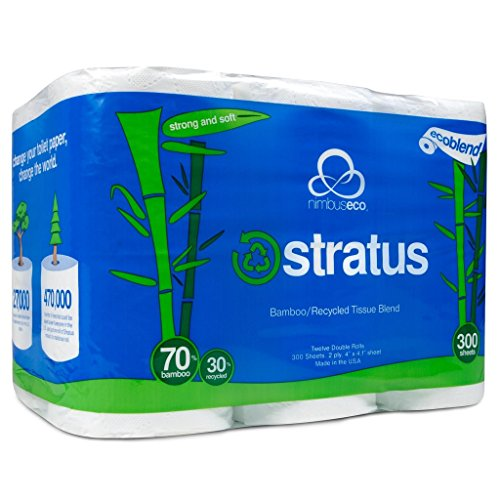 Stratus Eco-Friendly Bamboo/Recycled Toilet Paper by Nimbus Eco, 300 Sheet Rolls, 12 (Eco Friendly Toilet)
