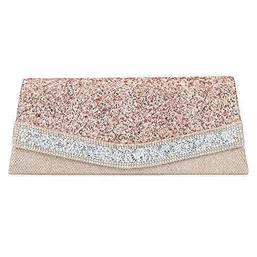 Clutch Bag Apricot - Shimmering Trapezoidal Apricot Glittered Rhinestone Clutch Evening Bag Luscious Shiny Party Handbag