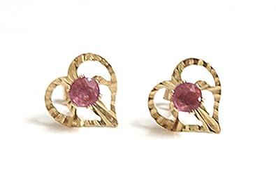 3ca0ed3ab 9ct Gold Ruby Heart stud Earrings: Amazon.co.uk: Jewellery