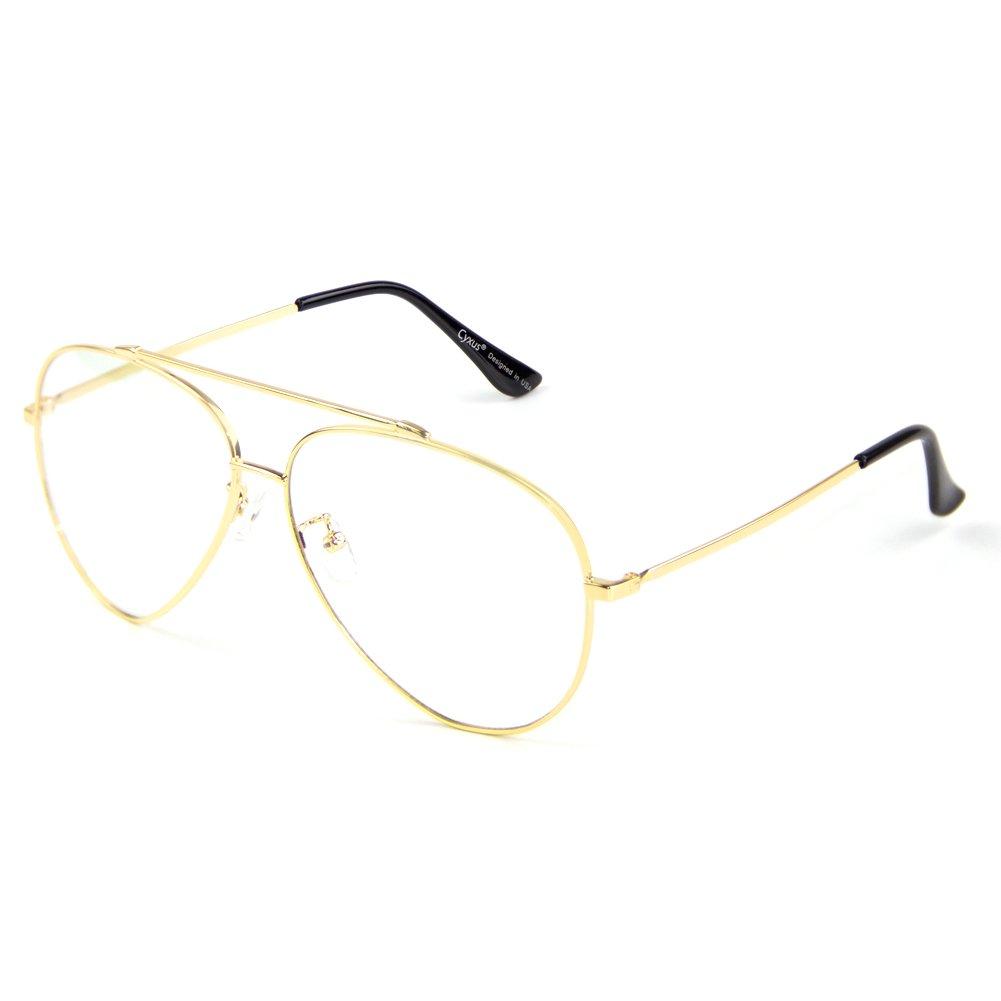 Cyxus Blue Light UV Blocking Computer Glasses, Double Bridge Anti Eye Strain Aviator Eyewear, Unisex (glod)