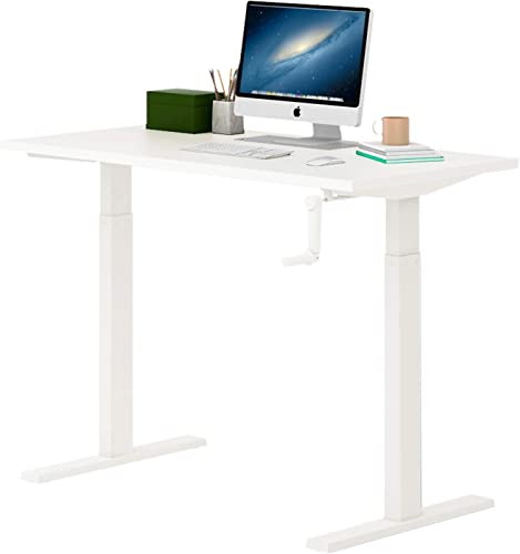 DEVAISE Standing Desk 47.2 Adjustable Height Sit to Stand Up Desk Workstaion with Crank Handle Cable Box for Office Home, White