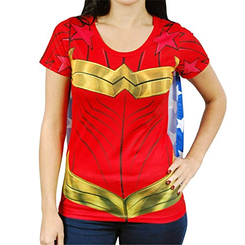 DC Comics Wonder Woman Sublimated Womens Caped Costume T-Shirt (X-Large) Red ()