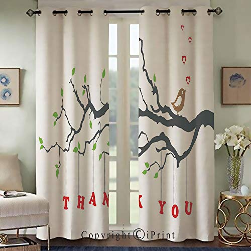 Bedroom Living Room Curtain,Exquisite Curtain,Thank You Quote Hangs from a Branch with Leaves an Bubble Hearts Art,Set of 2 Panels(50