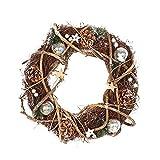 Yezijin Christmas Wreath, Home Wallhaning, Round-Shaped Rattan Wreath Dried Xmas Garland Christmas Home Door Decoration