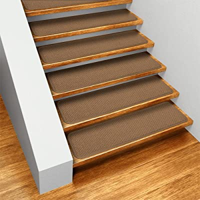 Set of 15 Skid-resistant Carpet Stair Treads - Toffee Brown- Several Other Sizes to Choose From